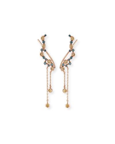 Blue & Yellow Diamond Dangle Climber Earrings