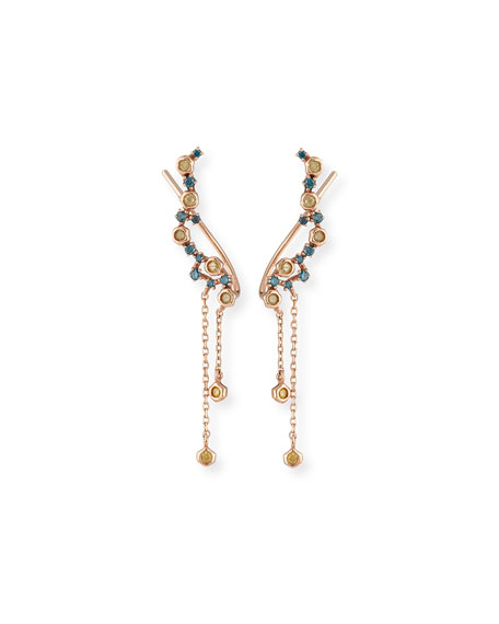 Blue & Yellow Diamond Dangle Climber Earrings