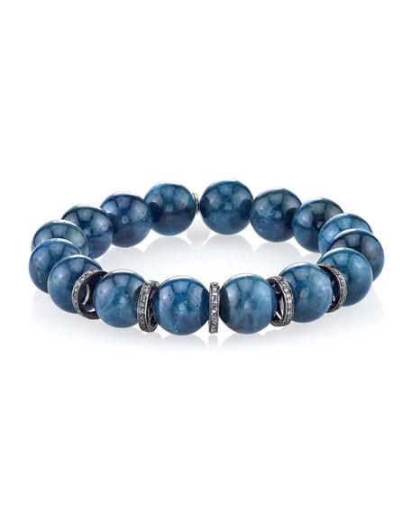 Sheryl Lowe 12mm Blue Apatite Beaded Bracelet with Diamond Rondelles
