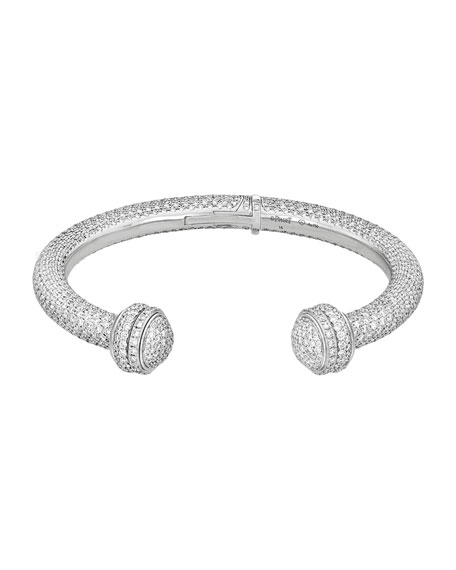 Possession 18K White Gold Diamond Open Bangle, Size M