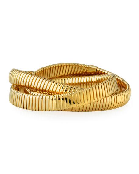 Triple Tubogas Spring Rolling Gold Bracelet
