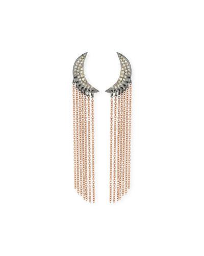Diamond Moon Chain Drop Earrings in 14K Rose Gold