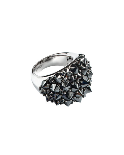 18k Spiked Black Diamond Ring, Size 7.25