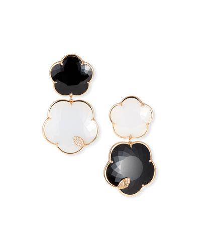 Ton Joli 18k Rose Gold Black & White Earrings w/ Diamonds