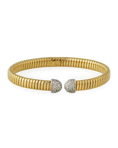 18k Gold Tubogas Wide Cuff Bracelet w/ Diamonds