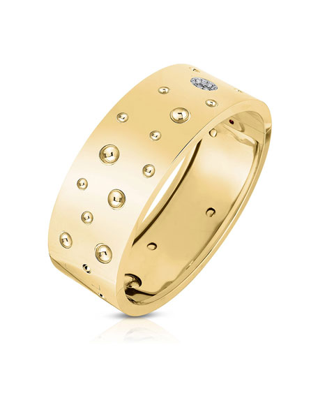 Roberto Coin Pois Moi Luna 18k Gold Diamond Wide Bangle