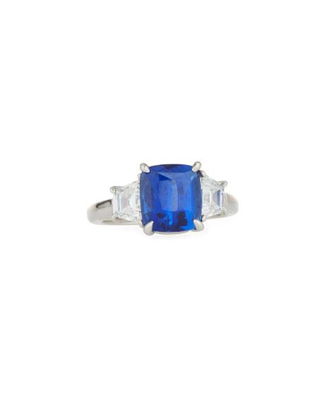 Oscar Heyman Platinum, Blue Sapphire & Diamond Ring