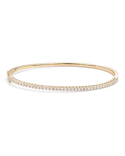 14k Gold Halfway Diamond Oval Bangle