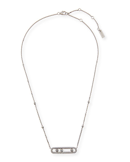 Image 4 of 4: Messika Move Diamond Pave Necklace, White Gold