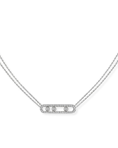 Image 1 of 4: Messika Move Diamond Pave Necklace, White Gold