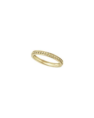 18k Caviar Beaded Stack Ring w/ Beveled Edges  Size 7