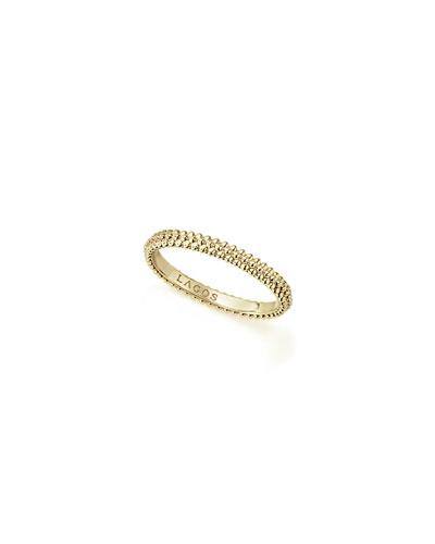 18k Caviar Micro Bead Stack Ring  Size 7