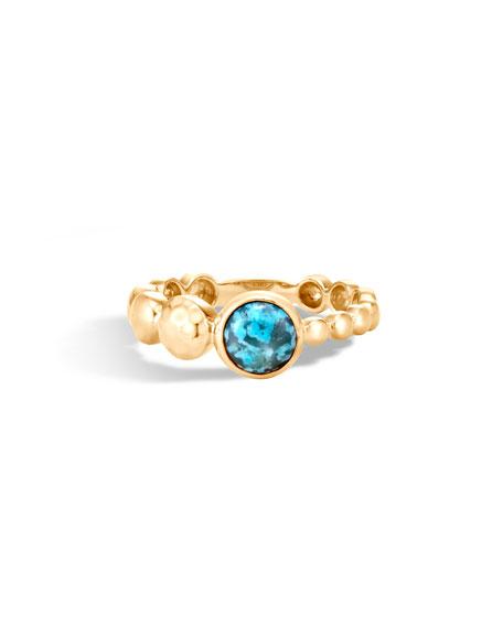 John Hardy 18k Hammered Ring w/ Turquoise, Size 7
