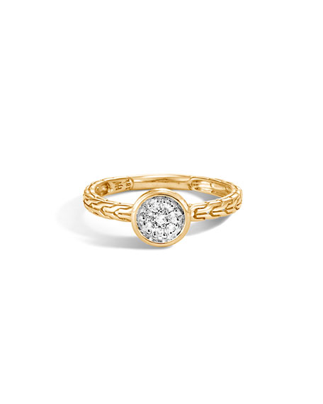 John Hardy Classic Chain 18k Gold Ring w/ Diamond Pave, Size 7