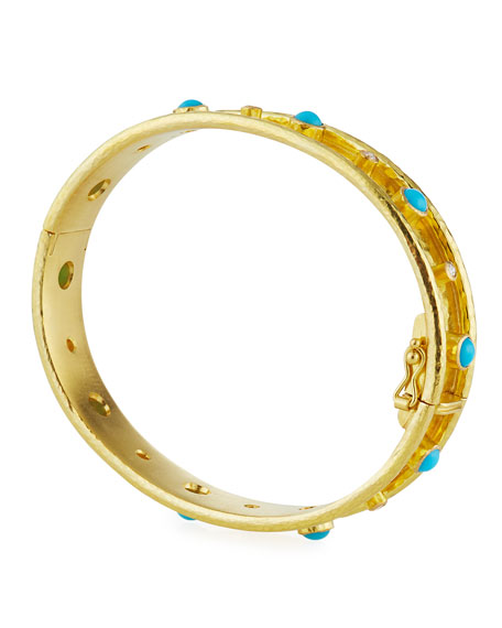 Elizabeth Locke 19k Turquoise & Diamond Bangle