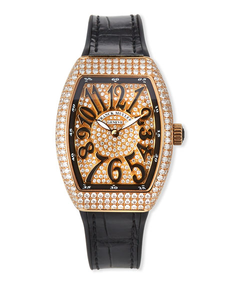 Image 1 of 4: Franck Muller Vanguard All-Diamond Watch w/ Alligator Strap