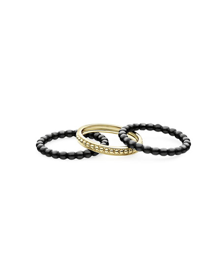 Image 2 of 4: Lagos 18k Gold & Black Caviar Rings, Set of 3, Size 7