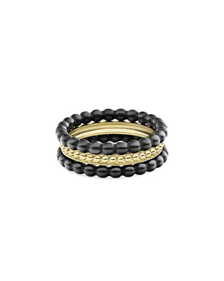 Image 3 of 4: Lagos 18k Gold & Black Caviar Rings, Set of 3, Size 7