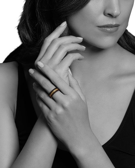 Image 4 of 4: Lagos 18k Gold & Black Caviar Rings, Set of 3, Size 7