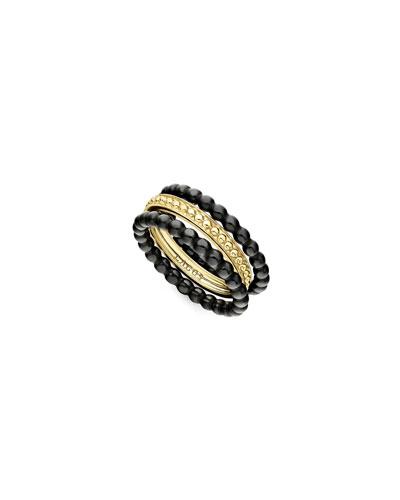 18k Gold & Black Caviar Rings  Set of 3  Size 7