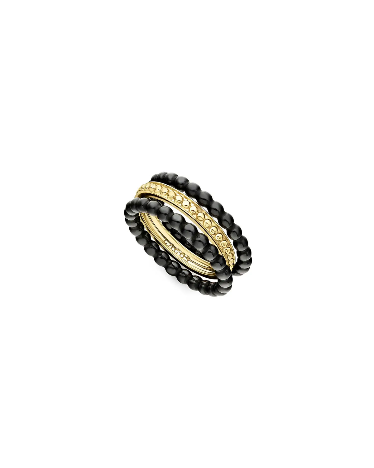 Lagos 18k Gold & Black Caviar Rings, Set of 3, Size 7