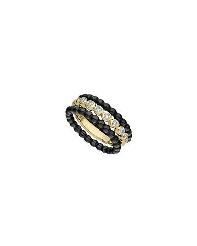 Caviar Gold & Black Ceramic Diamond Rings  Set of 3