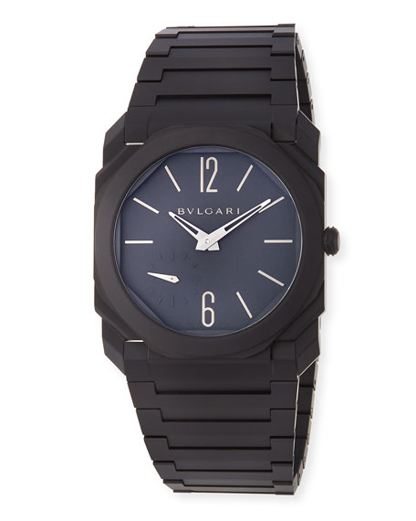 Image 1 of 3: BVLGARI Men's Octo Finissimo Automatic Bracelet Watch in Black Ceramic