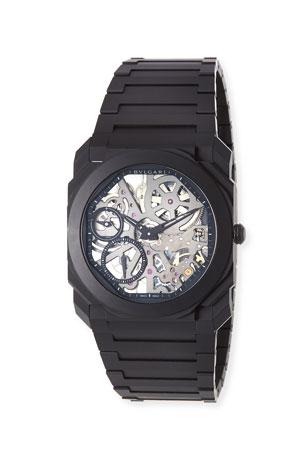 BVLGARI Men's Octo Finissimo Skeleton Bracelet Watch in Black Ceramic