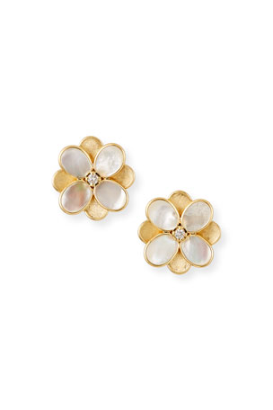 Marco Bicego Petali Stud Earrings with White Mother-of-Pearl