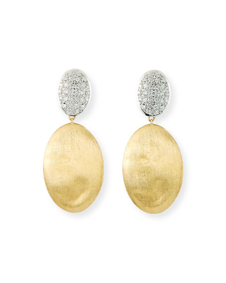 Image 1 of 2: Marco Bicego Siviglia 14k Gold Bead Large 2-Drop Earrings with Diamonds