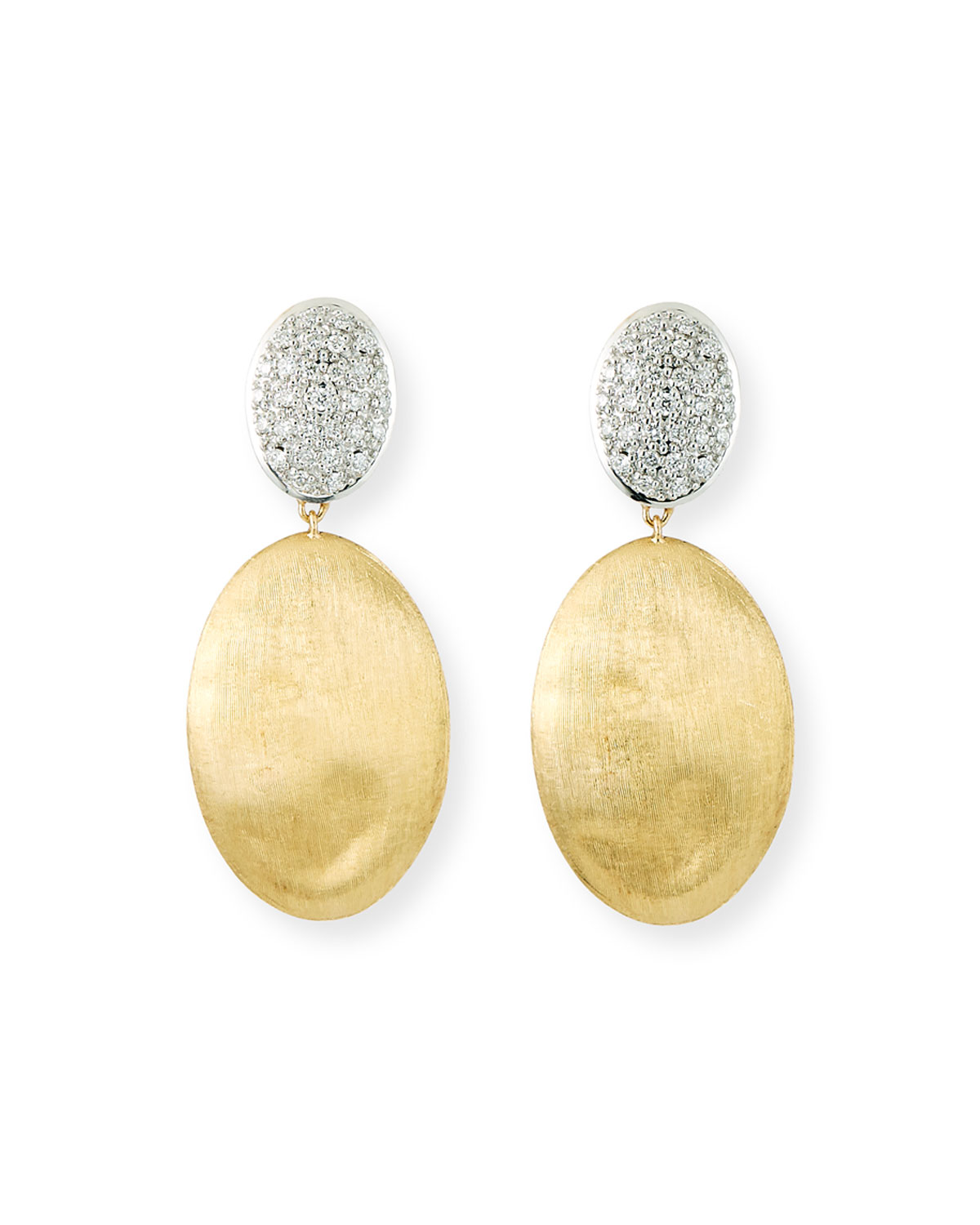 Marco Bicego Siviglia 14k Gold Bead Large 2-Drop Earrings with Diamonds