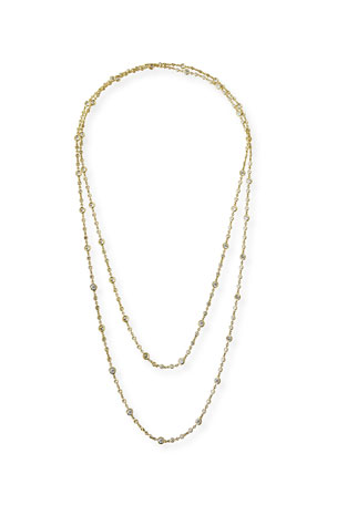 "Roberto Coin 18k Yellow Gold Long Diamond-Station Necklace, 60""L"