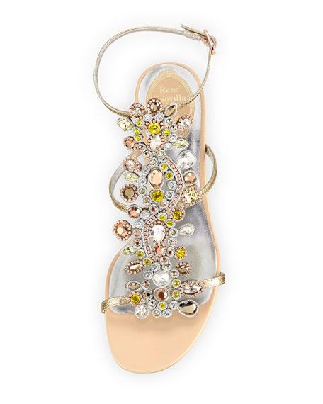 Jeweled Snakeskin T-Strap Sandal