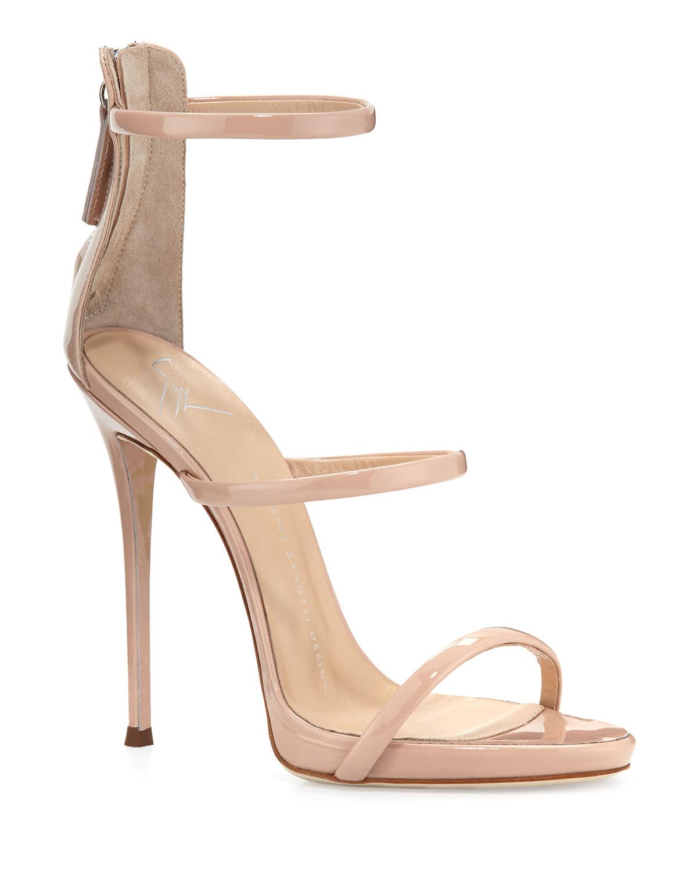 20119ae7fe3e2 Giuseppe Zanotti Coline Patent Triple-Strap 110mm Sandal