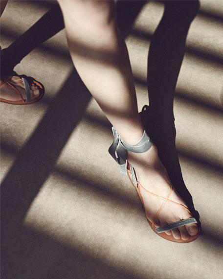 Velvet Lace-Up Flat Sandal