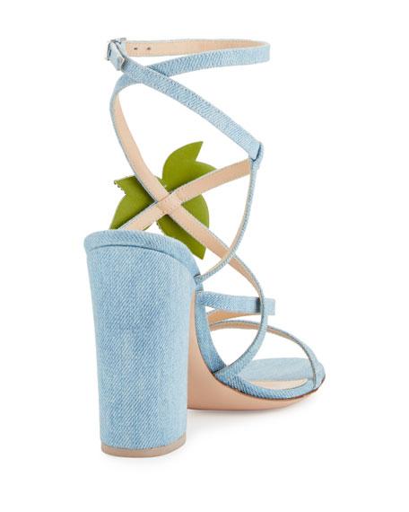 Cherry Denim Strappy 100mm Sandals, Blue