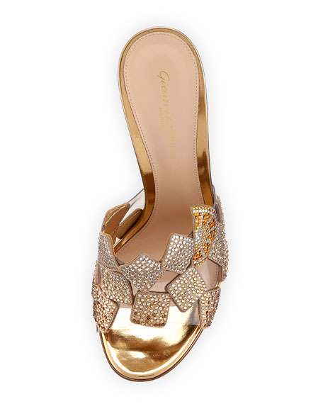 Crystal 105mm Slide Sandal, Gold
