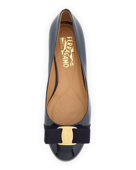 Salvatore Ferragamo Varina Patent Bow Ballet Flats, Oxford Blue