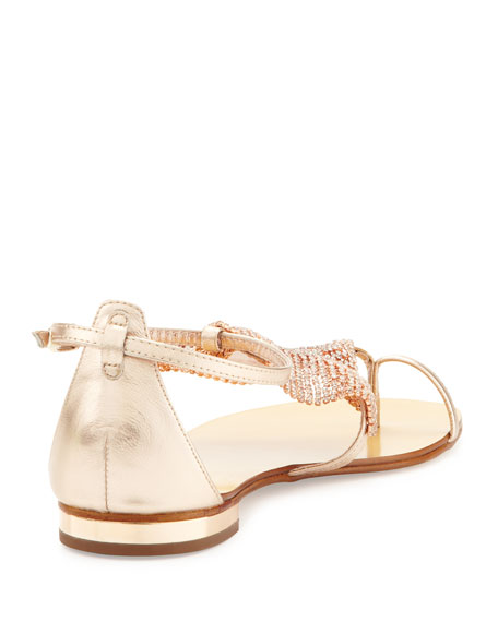 Lola Cruz Crystal Mesh Toe-Ring Sandal
