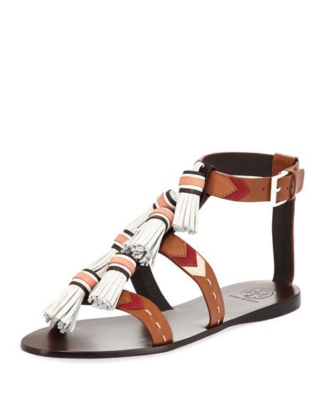 Weaver Flat Tassel Sandal, Tan/Light Almo