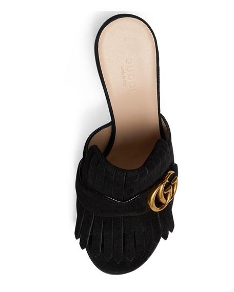 Marmont Suede Kiltie Mule Sandal, Black