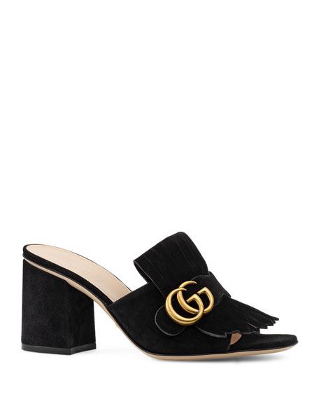 Gucci Marmont Suede Kiltie Mule Sandal, Black