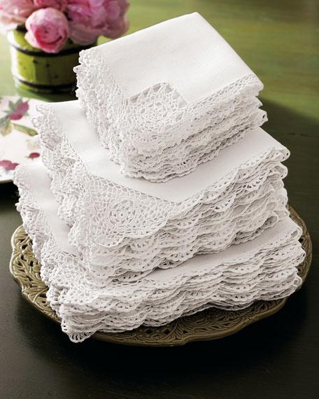 12 Crochet-Edge Dinner Napkins