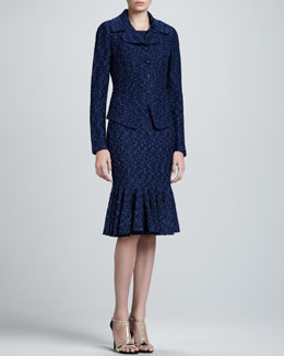 St. John Collection Donegal Tweed Knit Fitted Jacket and Sheath Dress