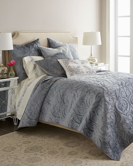 Queen Troyes Rayon Velvet Coverlet