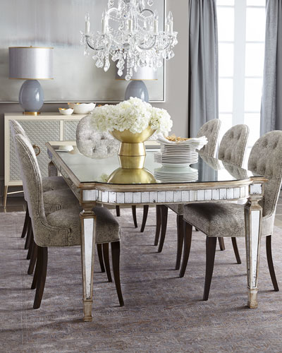 Cara Dining Chair & Eliza Antiqued Mirrored Dining Table