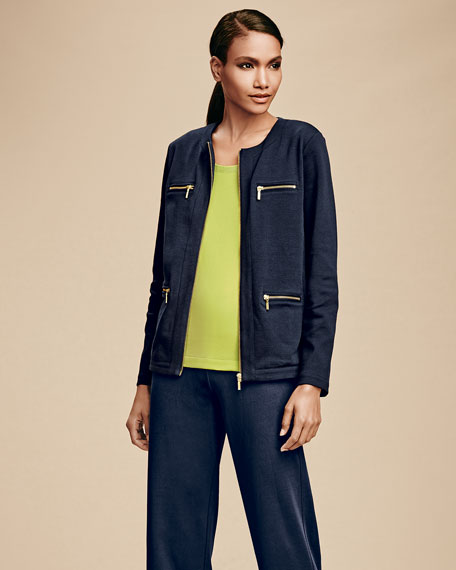 Stretch Interlock Zip-Front Jacket