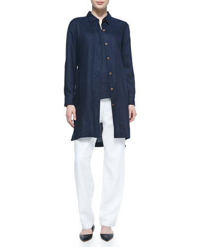 Long-Sleeve Linen Duster, Linen Scoop-Neck Tank & Straight-Leg Lined Linen Pants, Plus Size