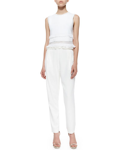 Tassel-Trim Sleeveless Blouse & Pleated Cropped Track-Pant Trousers