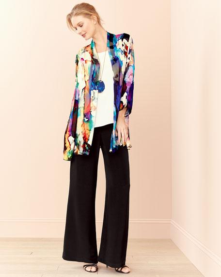 Hand-Painted Silk-Blend Devore Cardigan, Petite